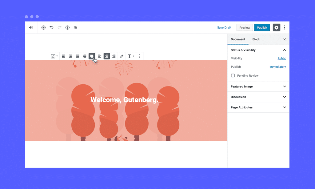 Gutenberg alignment settings