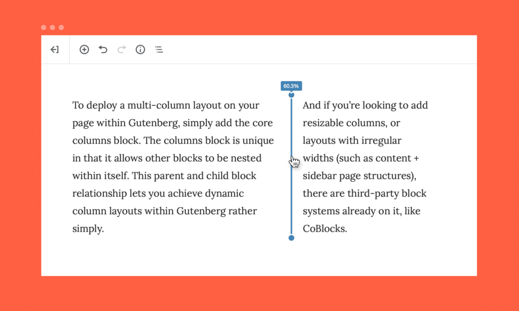 screenshot of the column layout in Gutenberg