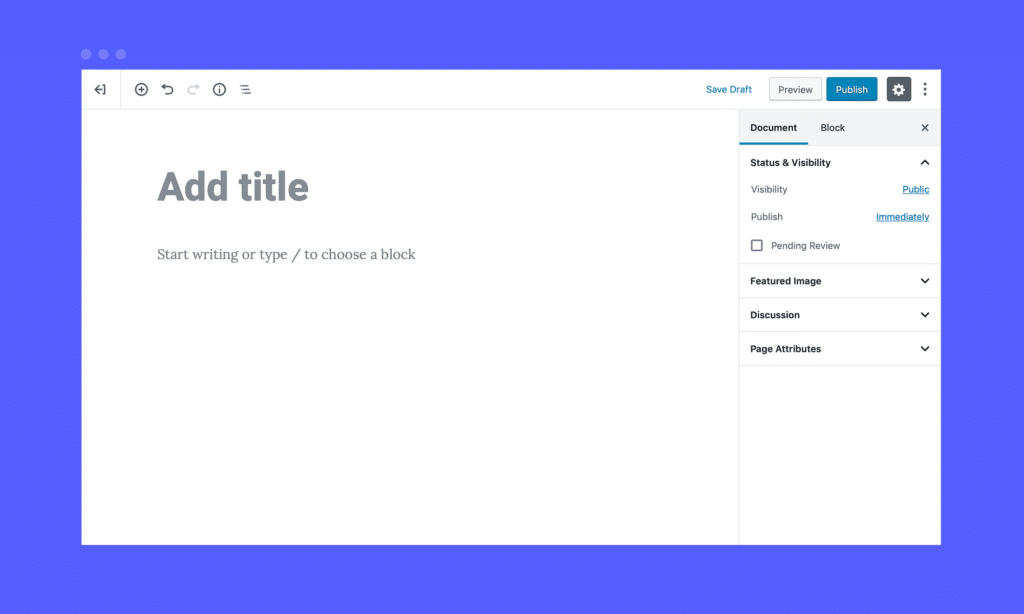 screenshot of Gutenberg layout in WordPress