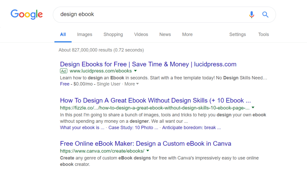 Google search results of the phrase 'design ebook'