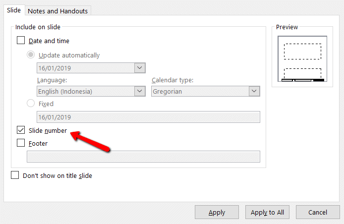 screenshot of page numbering settings on PowerPoint
