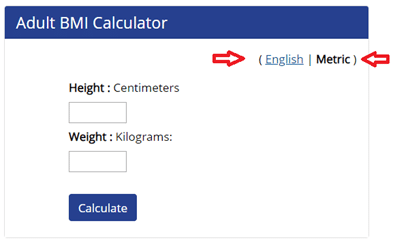 screenshot of Adult BMI Calculator