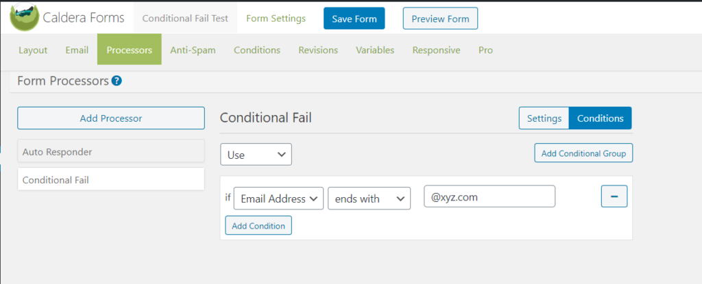 An example of the conditionals in conditional fail processor.