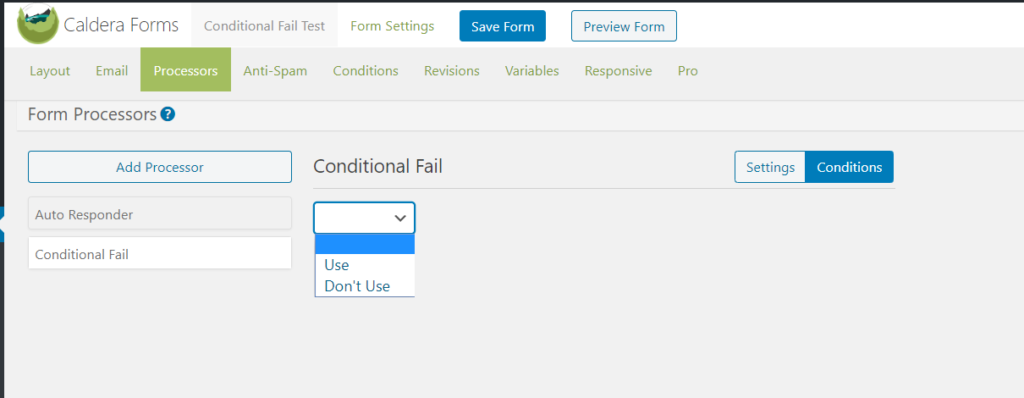 The conditions tab in the conditional fail processor.