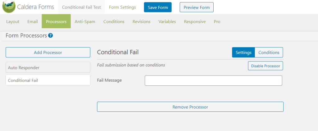 The Settings tab in the Conditional Fail processor.