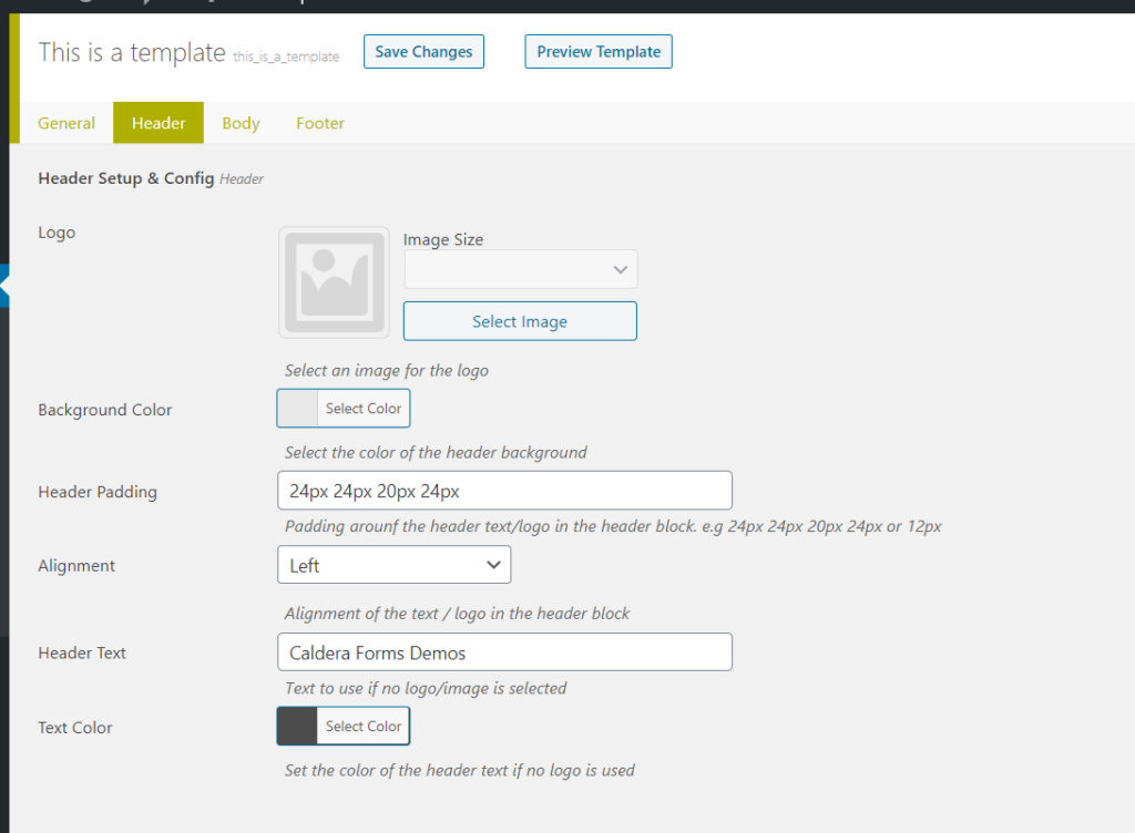 Header Settings in the Mailer Template add-on.