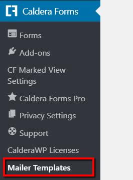 Mailer Templates submenu on the sidebar