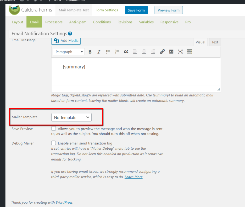 Mailer Template setting in the Email Notification Settings.