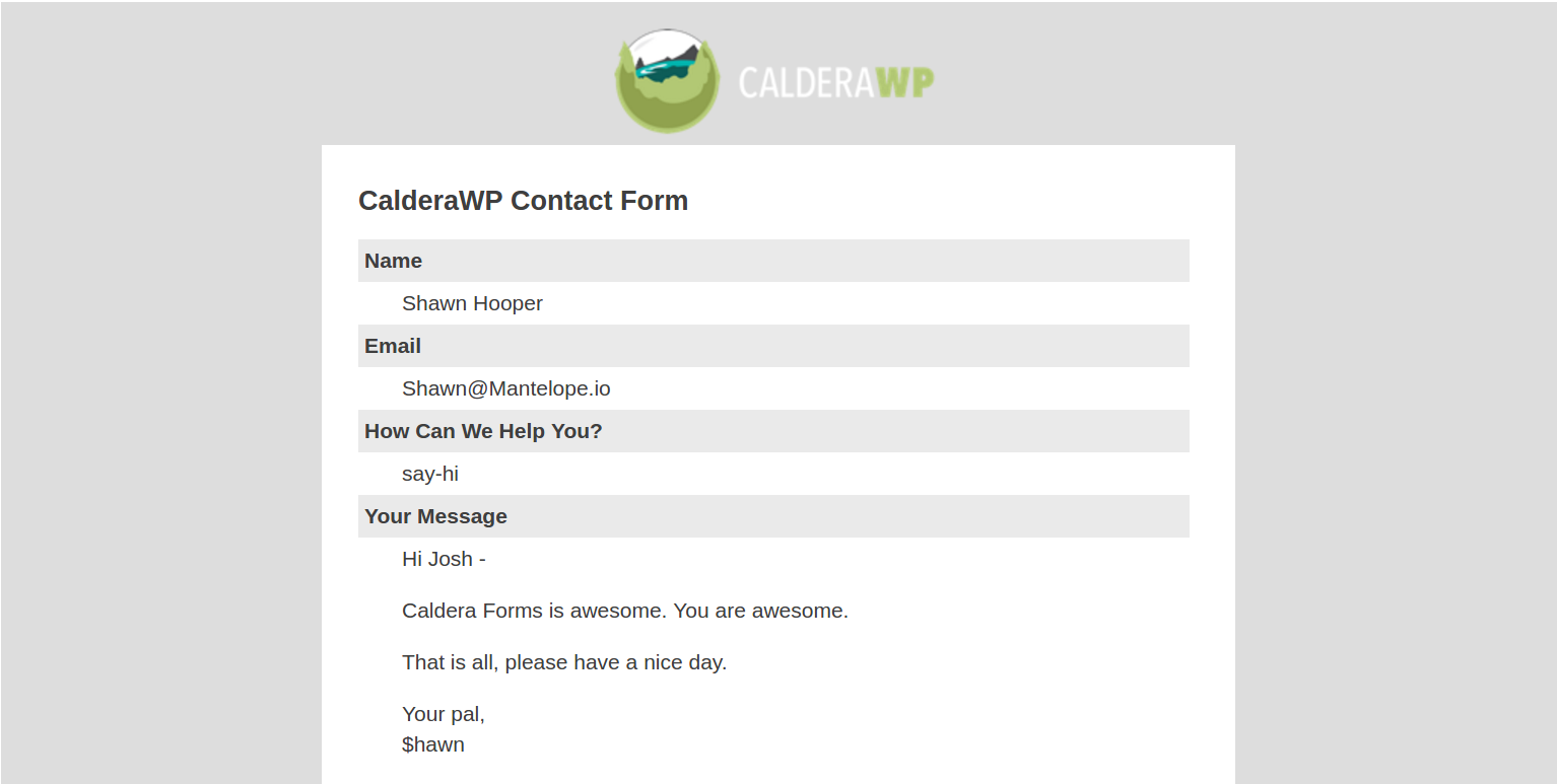 Example of an email created using Caldera Forms and Caldera Forms Mail Templates
