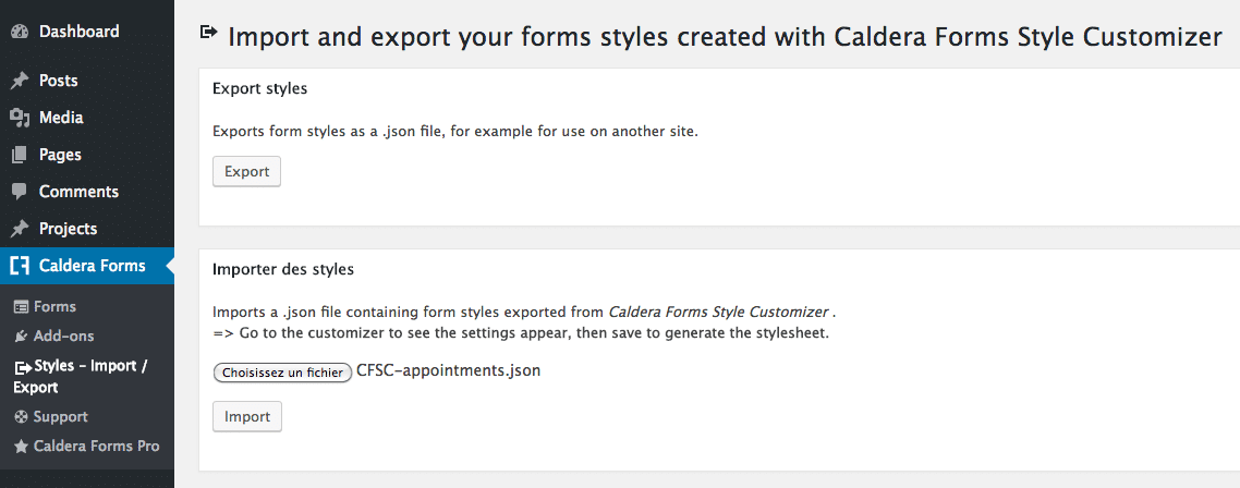 Import and export settings for Caldera Forms Style Customizer
